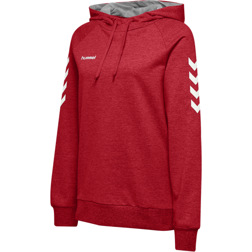 HUMMEL GO COTTON HOODIE WOMAN, TRUE RED, packshot