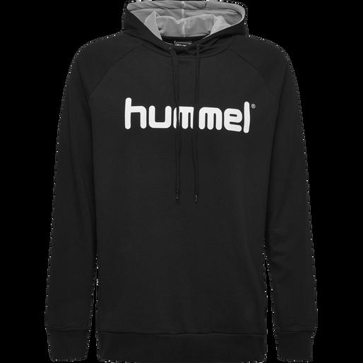 HUMMEL GO COTTON LOGO HOODIE, BLACK, packshot