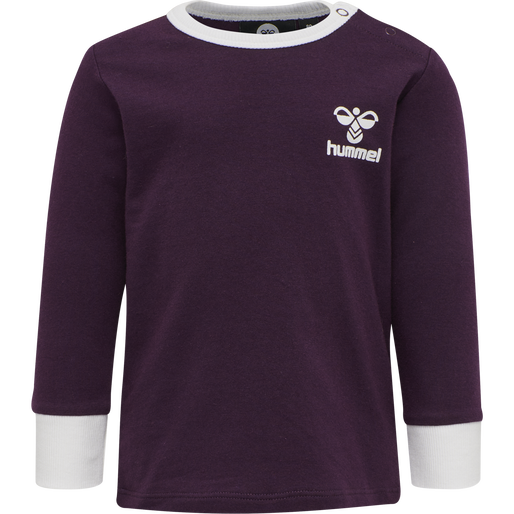 hmlMAUI T-SHIRT L/S, BLACKBERRY WINE, packshot