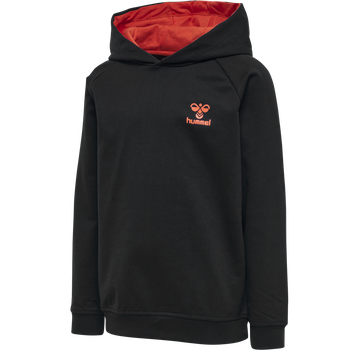 hmlACTION COTTON HOODIE KIDS, BLACK/FIESTA, packshot