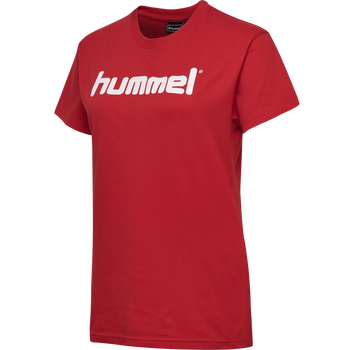 HUMMEL GO COTTON LOGO T-SHIRT WOMAN S/S, TRUE RED, packshot