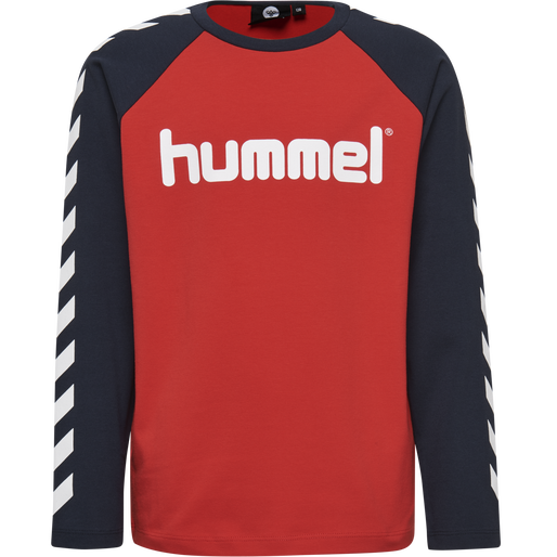 HMLBOYS T-SHIRT L/S, FLAME SCARLET, packshot
